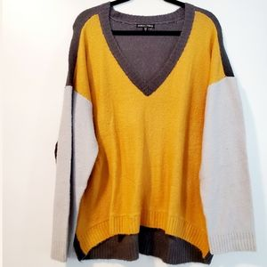 3X Moral Fiber Gray & Goldenrod Yellow Colorblock Sweater